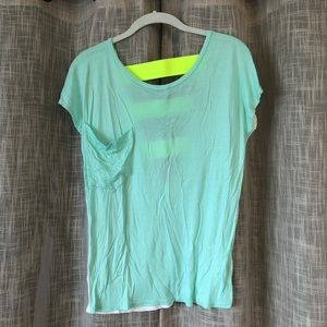 Nordstrom Mint Green T-Shirt with V-Back Detail
